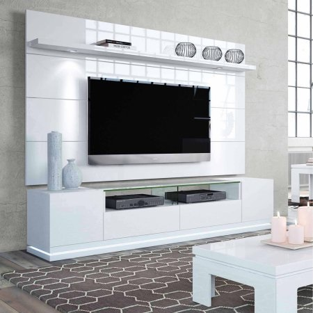 Vanderbilt TV Stand 2-1755282352 and Cabrini Floating Wall Panel With LED Lights from Manhattan Comfort