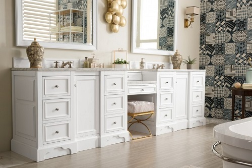 "De Soto 118"" Double Bathroom Vanity Set With Makeup Table 825-V118-BW-DU-CAR in Bright White from James Martin Furniture"
