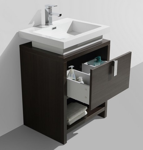 "Levi 24"" Gray Oak Modern Bathroom Vanity L600GO from KubeBath"