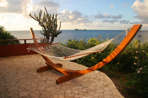 Hammocks with stands can be set up just about anywhere - no trees or structural support needed (by OBM International)