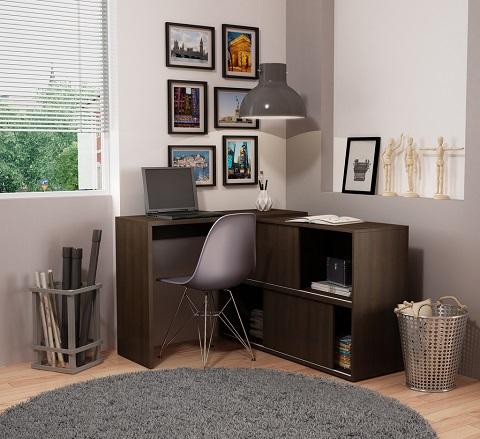 Bari Bookcase Desk 77AMC49 from Manhattan Comfort