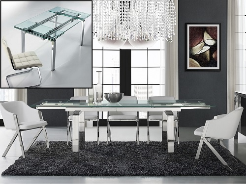 Cloud extendable dining table CB-D2048-SS from Casabianca Home