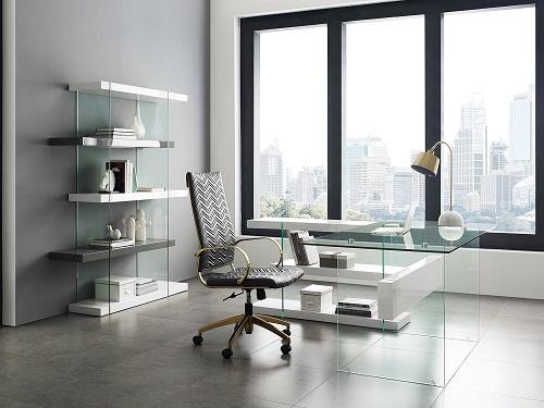 Il Vetro High Gloss White Lacquer Bookcase and Desk CB-111-WW-RTN from Casabianca Home