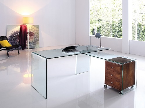 Rio Clear Glass Office Desk CB-1109-WAL-DESK from Casabianca Home