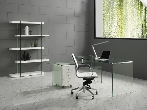Rio High Gloss White Lacquer With Glass OFfice Desk CB-1109-WHI-DESK from Casabianca Home