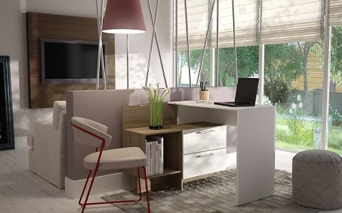 Teramo Home Desk in White and Oak 78AMC22 from Manhattan Comfort