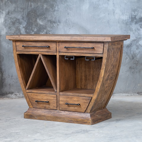 Aleph Rustic Wood Bar Cabinet 25447 from Uttermost