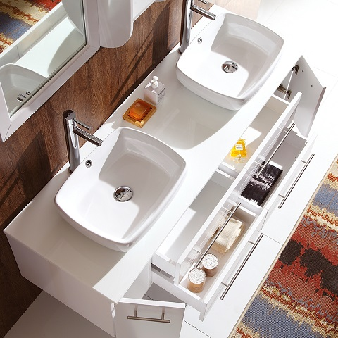 "Bellezza 59"" White Modern Double Vessel Sink Bathroom Vanity FVN6119 from Fresca"