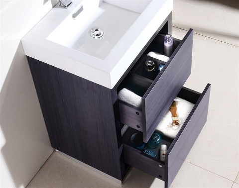 "Bliss 24"" Gray Oak Free Standing Modern Bathroom Vanity FMB24-GO from KubeBath"
