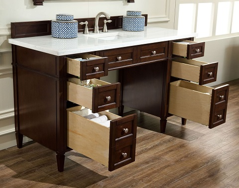 "Brittany 60"" ADA Approved Bathroom Vanity in Burnished Mahogany 651-V60S-BNM from James Martin Furniture"
