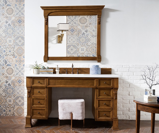 "Brookfield 60"" Single Bathroom Vanity With Wheelchair Accessible Makeup Table in Country Oak 146-V60S-COK from James Martin Furniture"