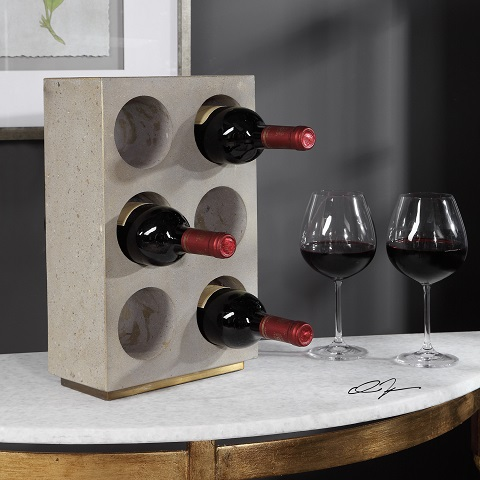 Kye Concrete Wine Holder 18652 from Uttermost