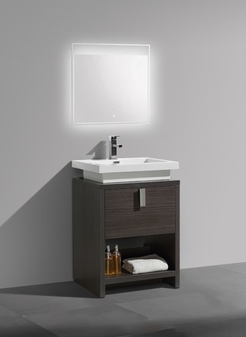 "Levi 24"" Dark Gray Oak Modern Bathroom Vanity With Cubby Hole L600WB from KubeBath"