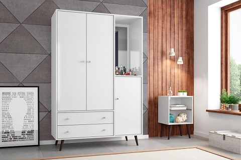 Liberty Mid Century Modern Armoire With Mirror in White 208BMC6 from Manhattan Comfort