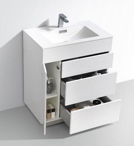 "Milano 30"" High Glossy White Modern Bathroom Vanity KFM30-GW from KubeBath"