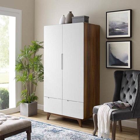 Origin Wood Wardrobe Cabinet MOD-6077-WAL-WHI in Walnut White from Modway Furniture