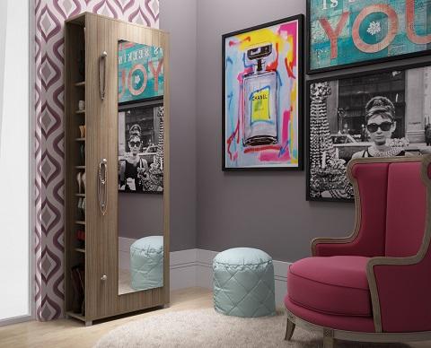 Valencia 10-Shelf Shoe Closet And Full Length Mirror 88AMC23 from Manhattan Comfort