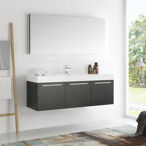 "Vista 60"" Black Wall Hung Single Sink Modern Bathroom Vanity FVN8093BW from Fresca"