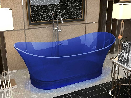 Azul Man-Made Stone Freestanding Bathtub in Regal Blue FT520-0026 from Anzzi