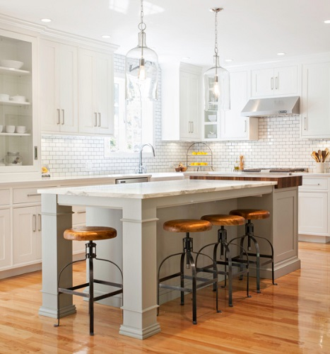 Distinctive new barstools can totally transform a simple white kitchen (by Pennville Custom Cabinetry)