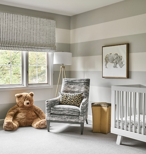 "Great news: some of the most common animal motifs for nurseries already come in gray (by <a href=""https://www.houzz.com/photo/109801303-north-shore-renovation-transitional-nursery-chicago"" target=""_blank"" rel=""noopener"">Kim Scodro Interiors</a>)"
