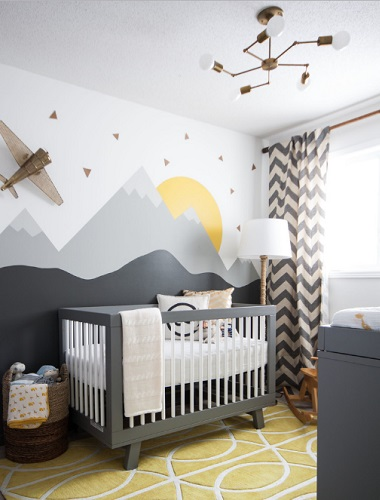 A few small pops of accent color can bring a gray nursery to life - and totally change the look of the space (by Leclair Decor)