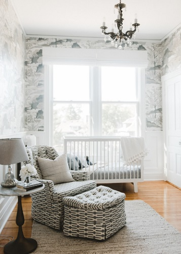 If you want to experiment with patterns, sticking to a neutral gray color scheme can help you pull off a look that's elegant rather than overwhelming (by Prospect Refuge Studio)