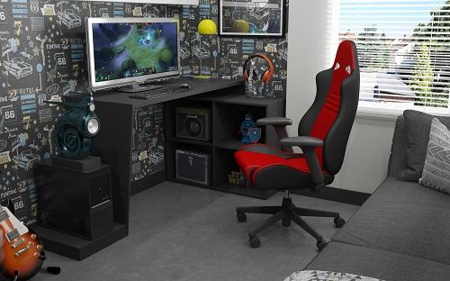 Randalls Gamer Desk 3.0 With Four Shelves in Black from Manhattan Comfort