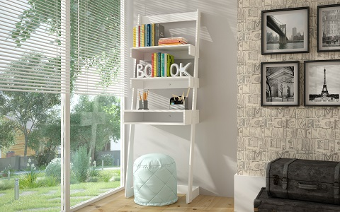Urbane Carpina Ladder Desk in White 21AMC6 from Manhattan Comfort