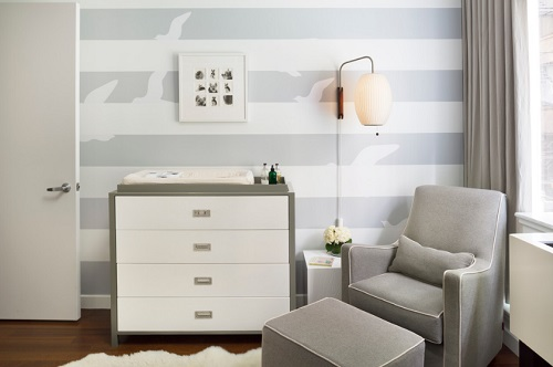 If you want a nursery where both you and your baby can relax, a gray color scheme isn't a bad place to start (by m monroe design)