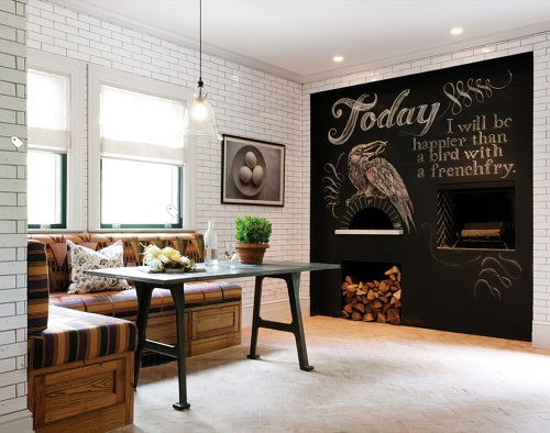 Chalkboard walls are great for everything from a grocery list, to kids doodles, to hilariously elaborate works of art (by Crown Point Cabinetry)