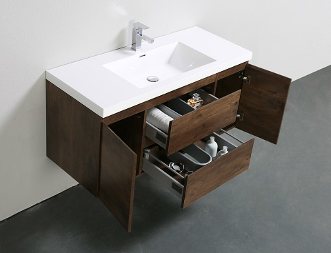 "Mob 48"" Wall Mounted MOdern Bathroom Vanity in Rosewood MOB48-RW from Moreno Bath"