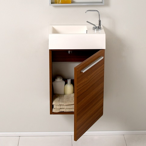 "Pulito 16"" Small Teak Modern Bathroom Vanity FVN8002TK from Fresca"