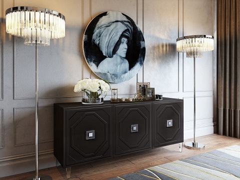 Andros Black Lacquer Buffet CDF-D4100 from Contemporary Design Furniture