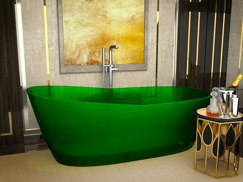 Ember One Piece Freestanding Bathtub In Translucent Emerald Green FT-AZ521-GR from Anzzi