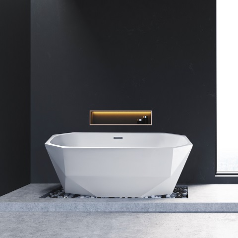 Modern Octagon Freestanding Soaking Tub N-620-63FSWH-FM from Streamline Bath
