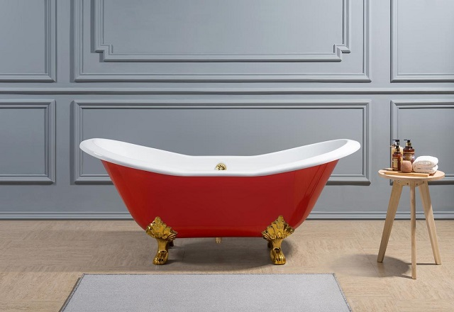 Vintage Cast Iron Soaking Clawfoot Tub R5161GLD-GLD from Streamline