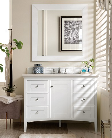 "Palisades 48"" Single Bathroom Vanity in Bright White 527-V48-BW from James Martin Furniture"