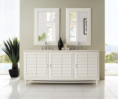 "Portland 72"" Double Bathroom Vanity in Cottage White 620-V72-CWH from James Martin Furniture"
