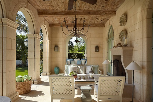 There's no better way to finish off a decked out indoor outdoor area than with a classic chandelier (by Webb Builders LLC)