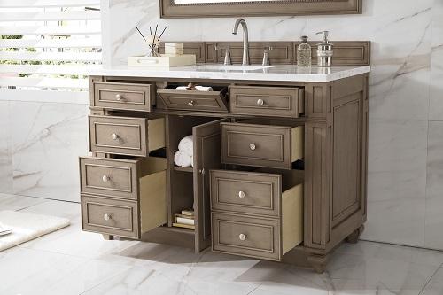"""Bristol 48"""" Single Bathroom Vanity in White Washed Walnut 157-V48-WW-3AF from James Martin Furniture"""