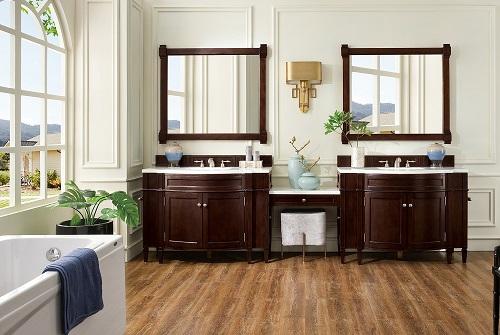 """Brittany 118"""" Double Bathroom Vanity Set in Burnished Mahogany 650-V118-BNM-DU-AF from James Martin Furniture"""