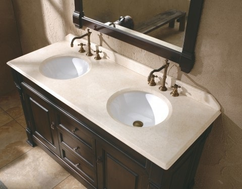 "Brookfield 72"" Burnished Mahogany Double Bathroom Vanity with Gala Beige Marble Top 147-114-5761-2GLB from James Martin Furniture"
