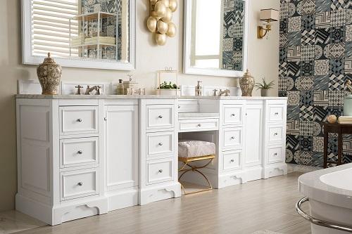 "De Soto 118"" Double Bathroom Vanity Set With Makeup Table 825-V118-BW-DU-CAR from James Martin Furniture"