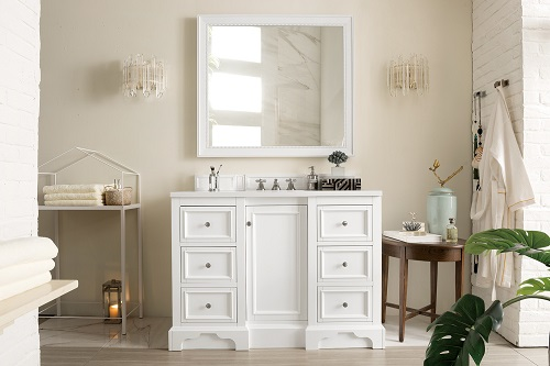 "De Soto 48"" Single Bathroom Vanity in Bright Whit 825-V48-BW from James Martin Furniture"