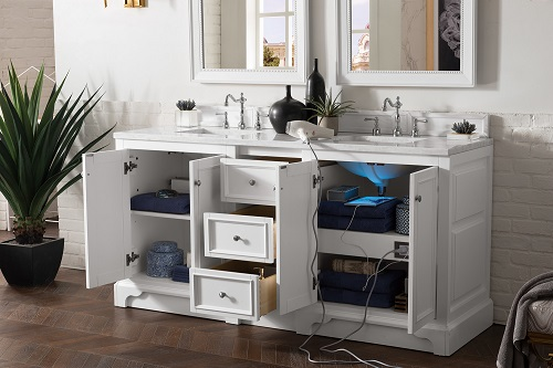 "De Soto 72"" Double Bathroom Vanity in Bright White 825-V72-BWW-3AF from James Martin Furniture"