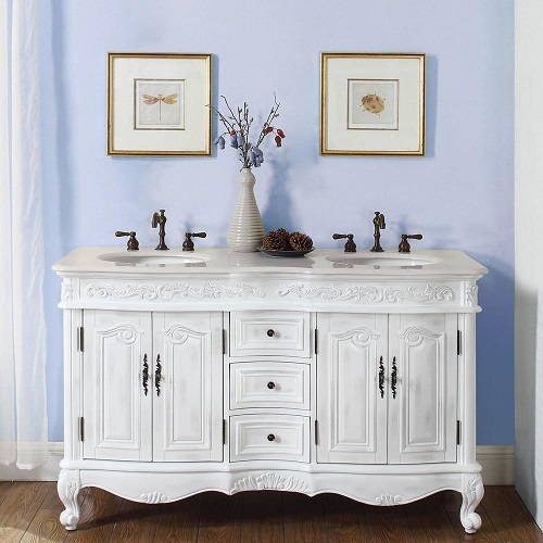 """58"""" Double Sink Cabinet in Antique White HYP-0145-CM-UIC-58 from Silkroad Exclusive"""