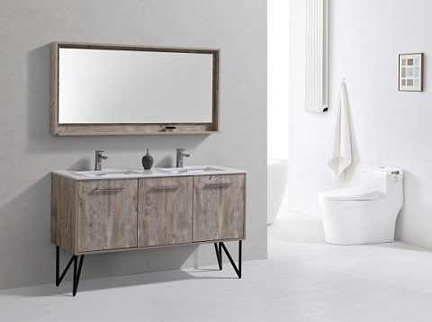 "Bosco 60"" Double Sink Modern Bathroom Vanity KB60DNW from Kubebath"