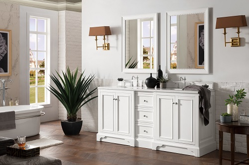"De Soto 72"" Double Bathroom Vanity 825-V72-BW in Bright White from James Martin Furniture"