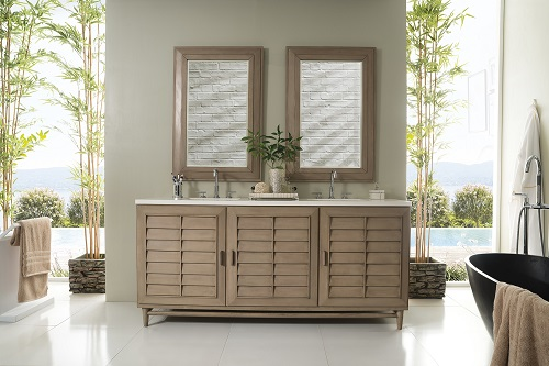 """Portland 72"""" Double Bathroom Vanity in White Washed Walnut 620-V72-WW from James Martin Furniture"""